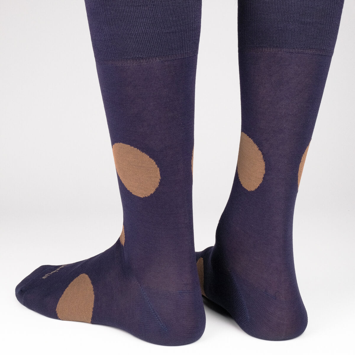 Mens Socks - Big Dots Men's Socks - Dark Blue⎪Etiquette Clothiers