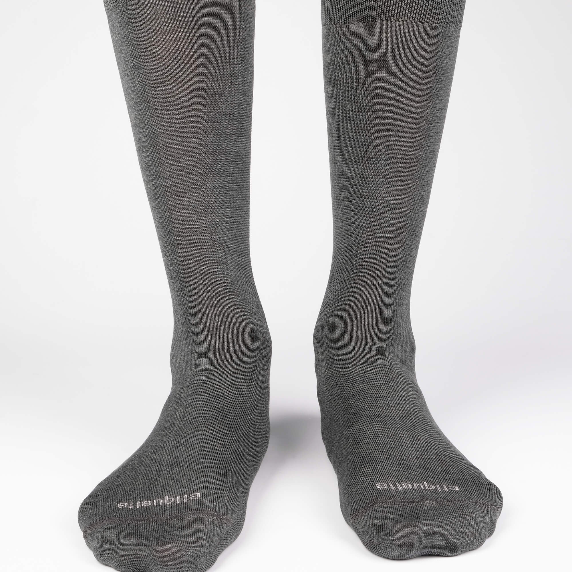 Mens Socks - Men's Crew Dress Socks 3 Pack - Dark Grey⎪Etiquette Clothiers