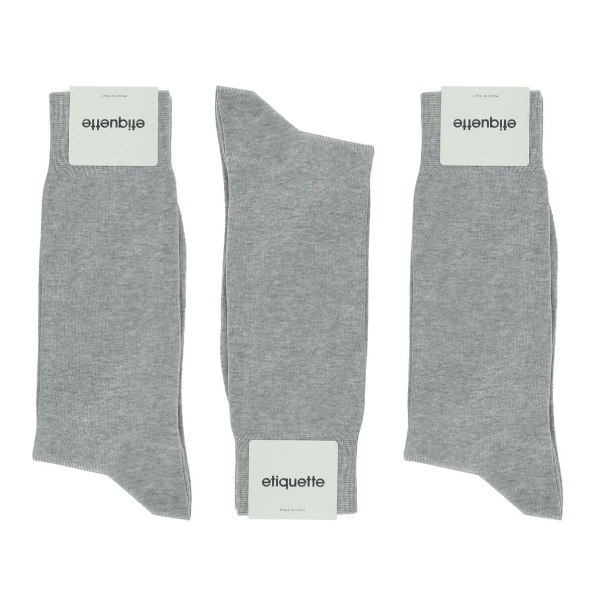 Mens Socks - Men's Crew Dress Socks 3 Pack - Light Grey⎪Etiquette Clothiers