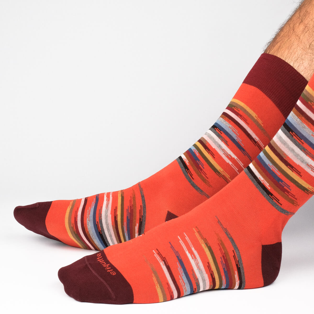 Mens Socks - Idyllic Men's Socks - Orange⎪Etiquette Clothiers