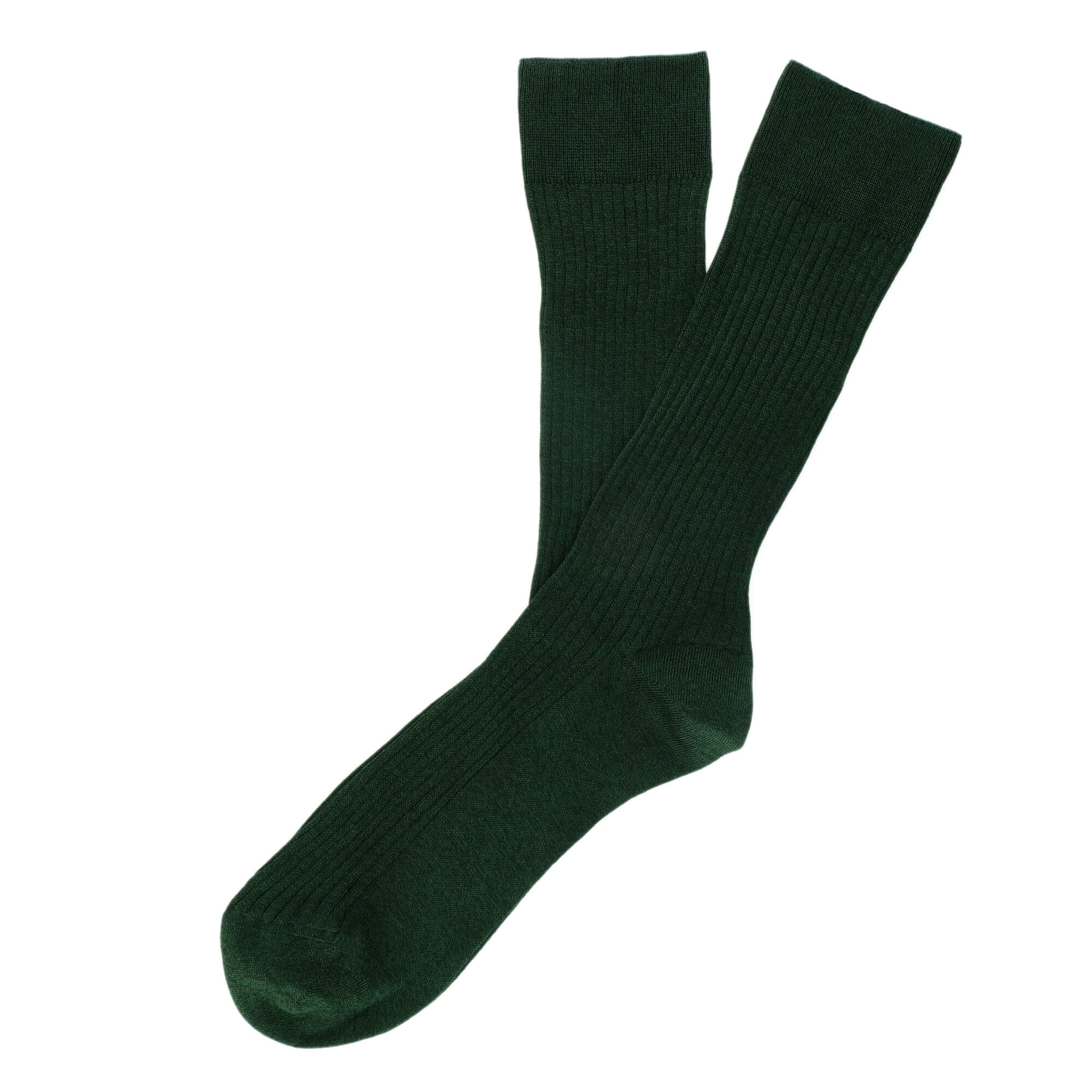 Mens Socks - Thousand Ribs Men's Socks - Green⎪Etiquette Clothiers