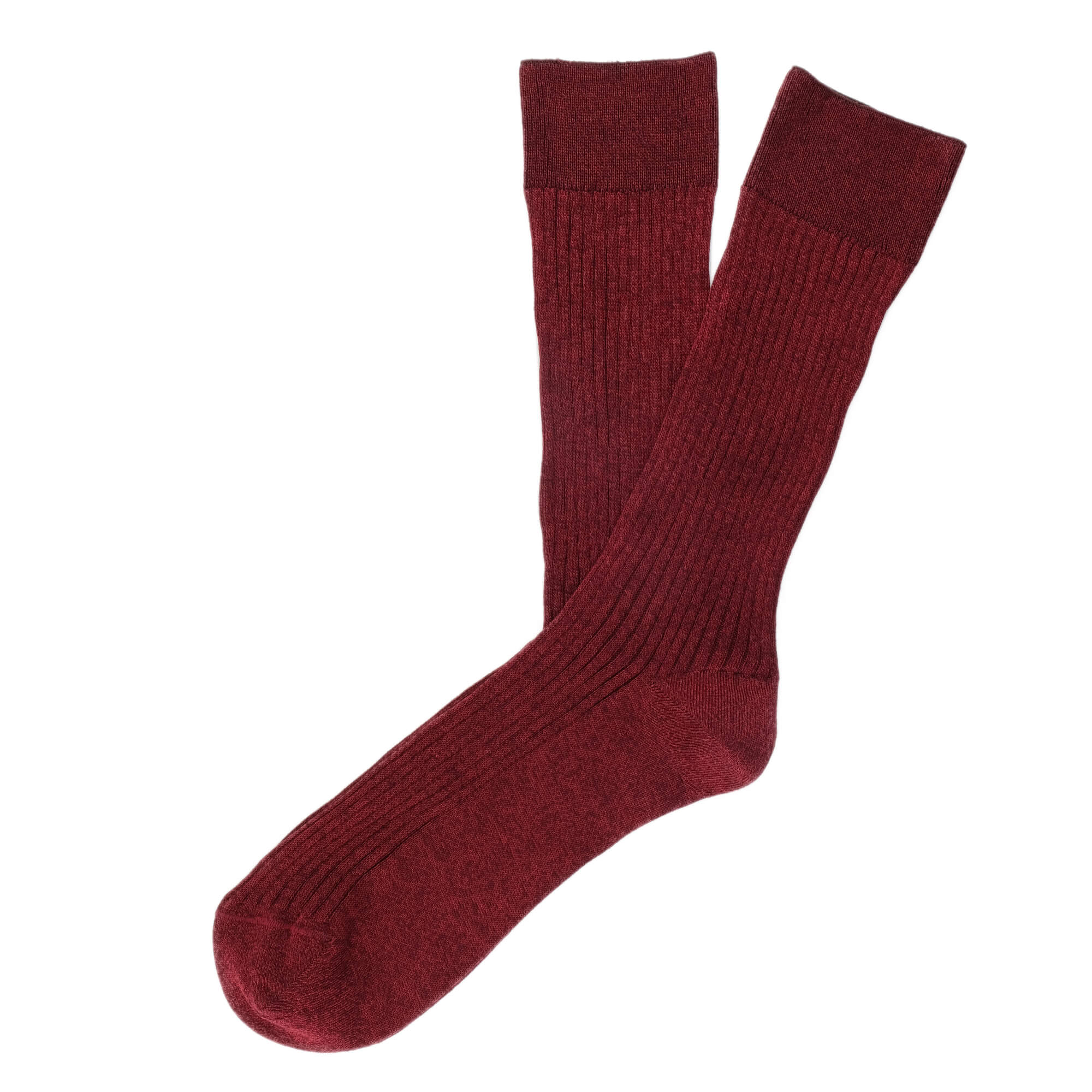 Mens Socks - Thousand Ribs Men's Socks - Bordeaux⎪Etiquette Clothiers