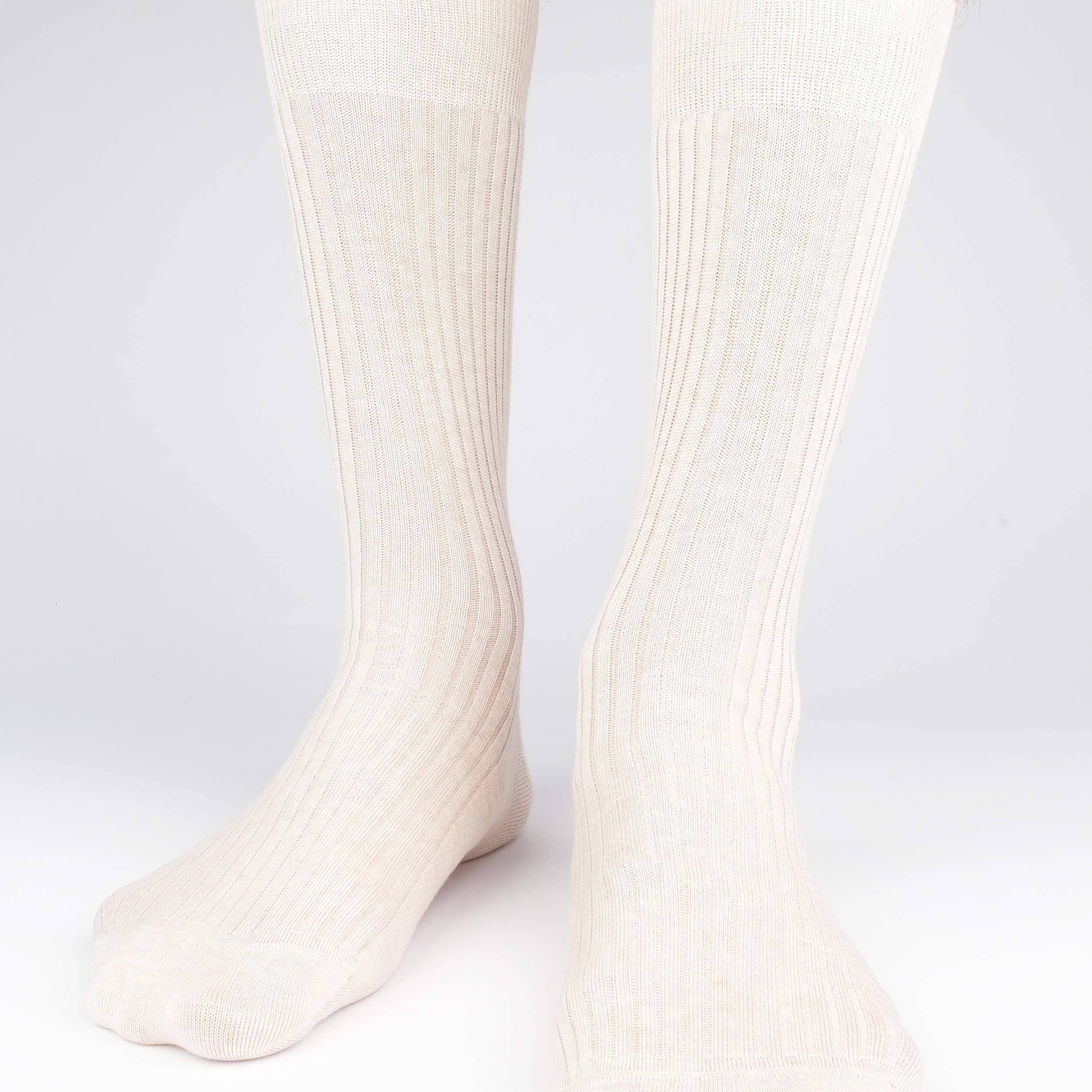 Mens Socks - Thousand Ribs Men's Socks - Oatmeal⎪Etiquette Clothiers