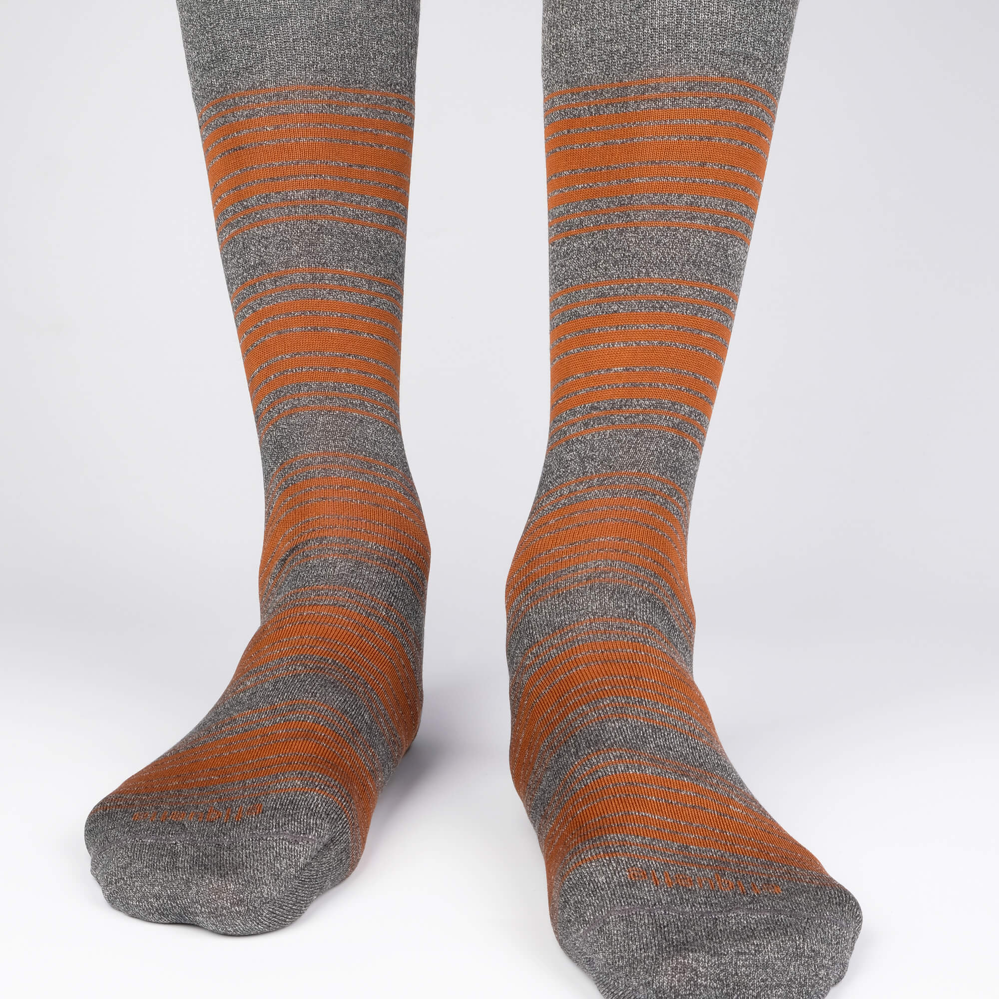 Mens Socks - Tokyo Stripes Men's Socks - Dark Grey / Brown⎪Etiquette Clothiers