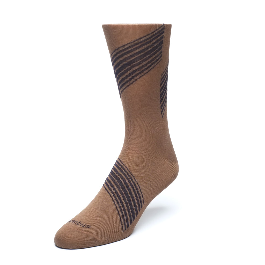 Mens Socks - Shanghai Stripes Men's Socks - Brown⎪Etiquette Clothiers