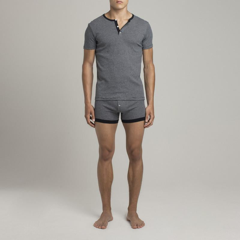 Mens Underwear - Men's Lafayette Short Sleeve Henley - Blue⎪Etiquette Clothiers