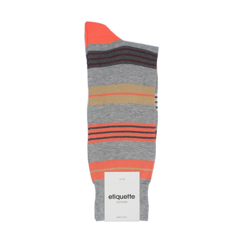 Mens Socks - Amsterdam Stripes Men's Socks - Orange⎪Etiquette Clothiers