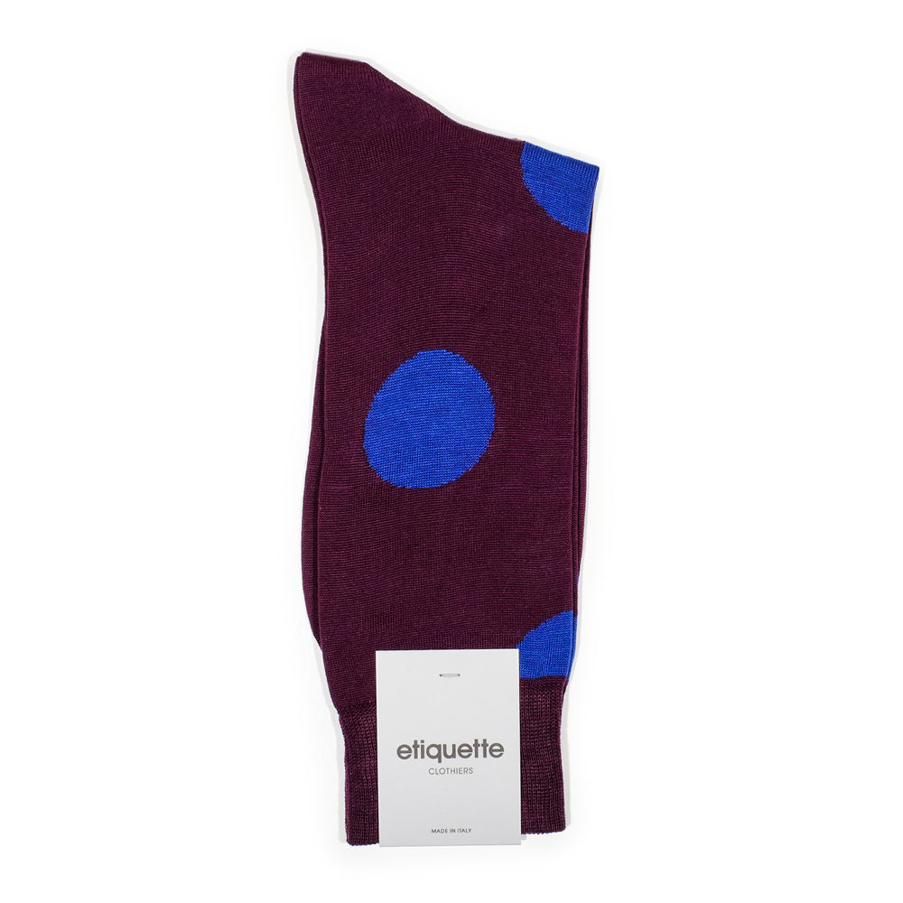 Mens Socks - Big Dot Men's Socks - Plum⎪Etiquette Clothiers