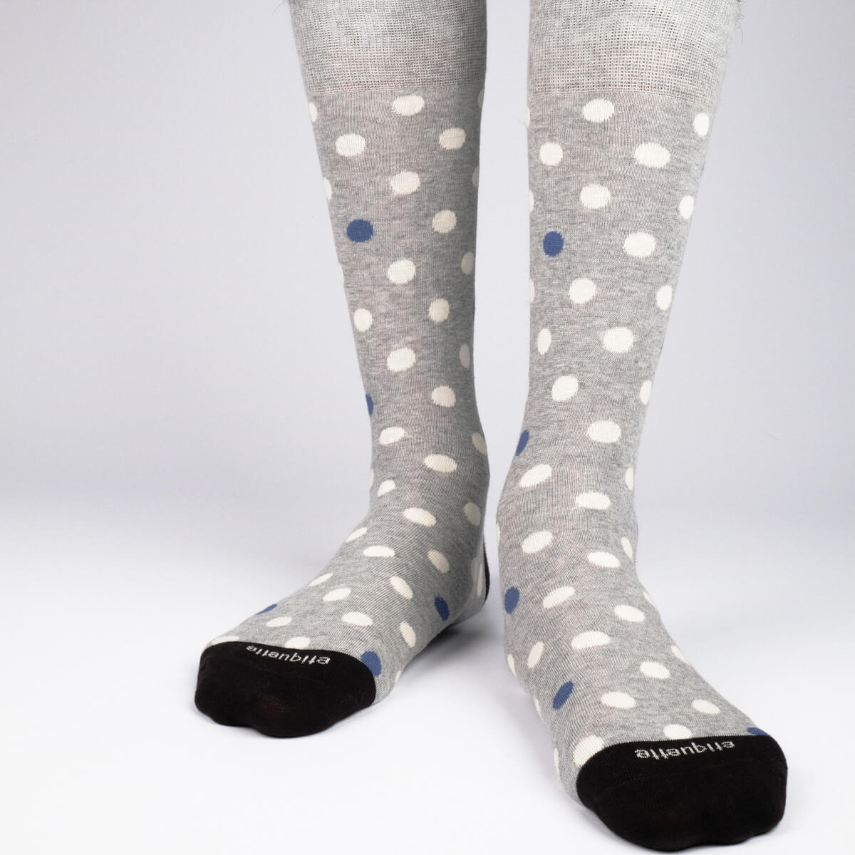 Mens Socks - Mix Polka Men's Socks - Grey⎪Etiquette Clothiers