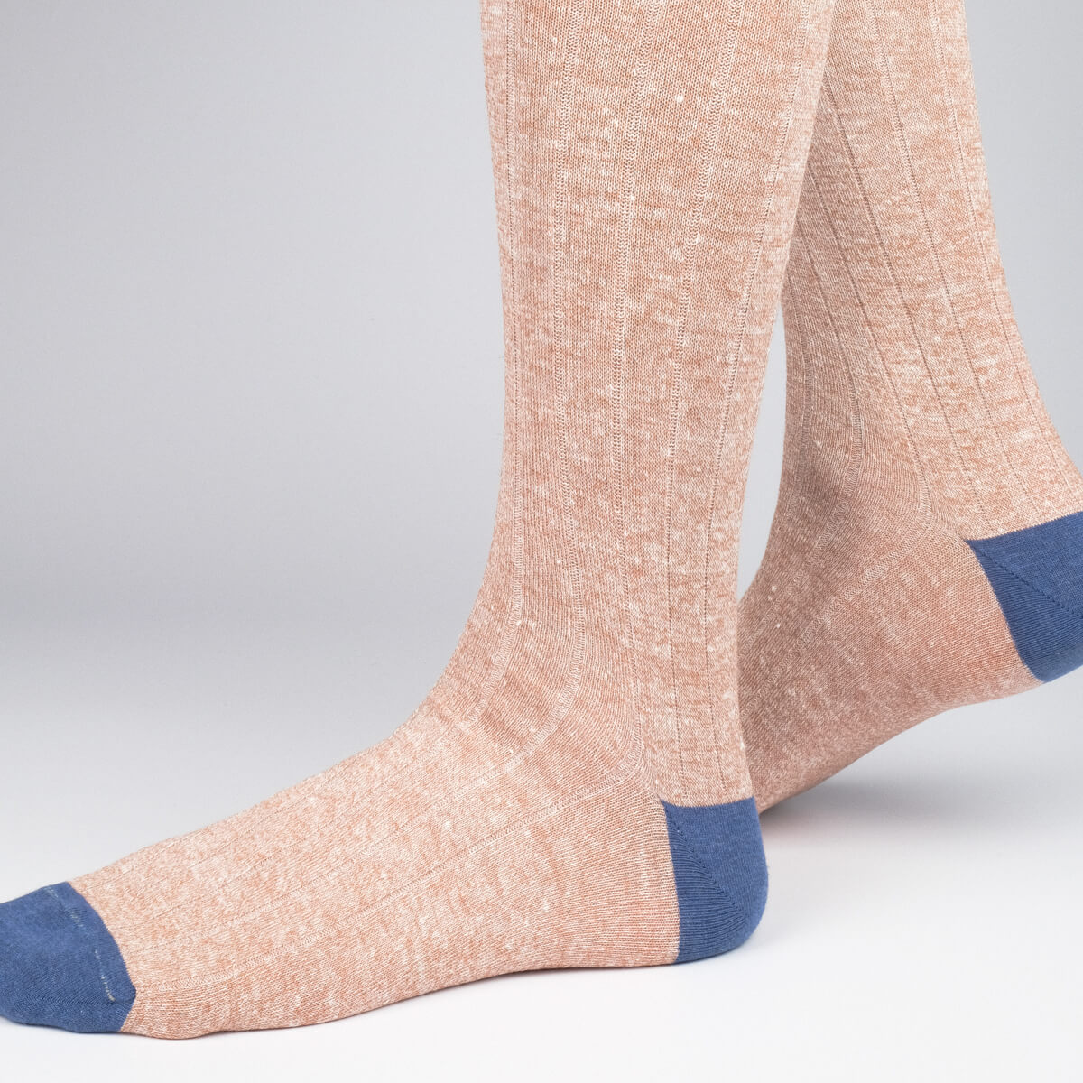 Mens Socks - Ribbed Linen Men's Socks - Brown⎪Etiquette Clothiers