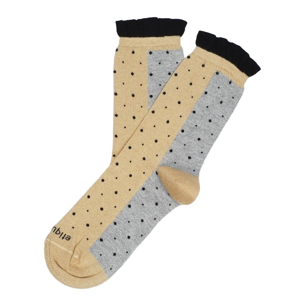 Womens Socks - Multi Dots Women's Socks - Gold Metallic⎪Etiquette Clothiers
