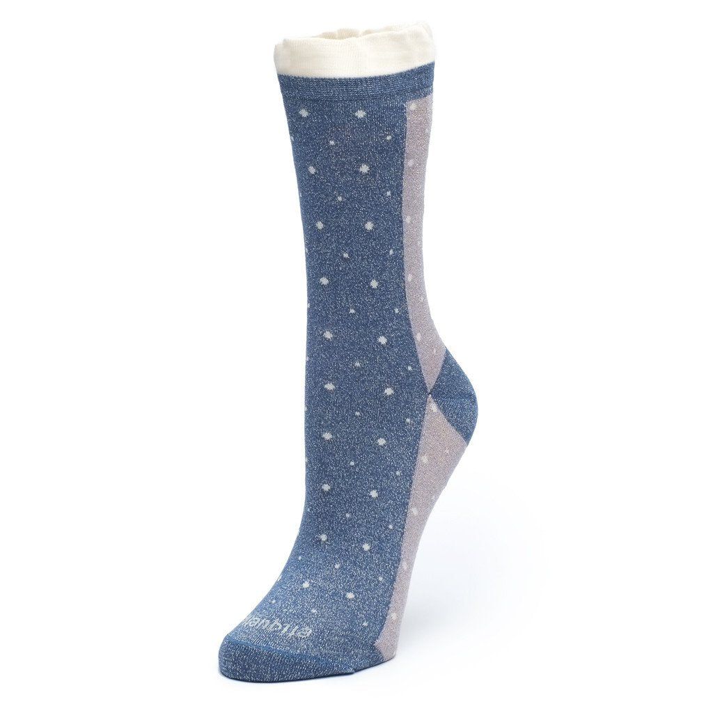 Womens Socks - Multi Dots Women's Socks - Blue Metallic⎪Etiquette Clothiers