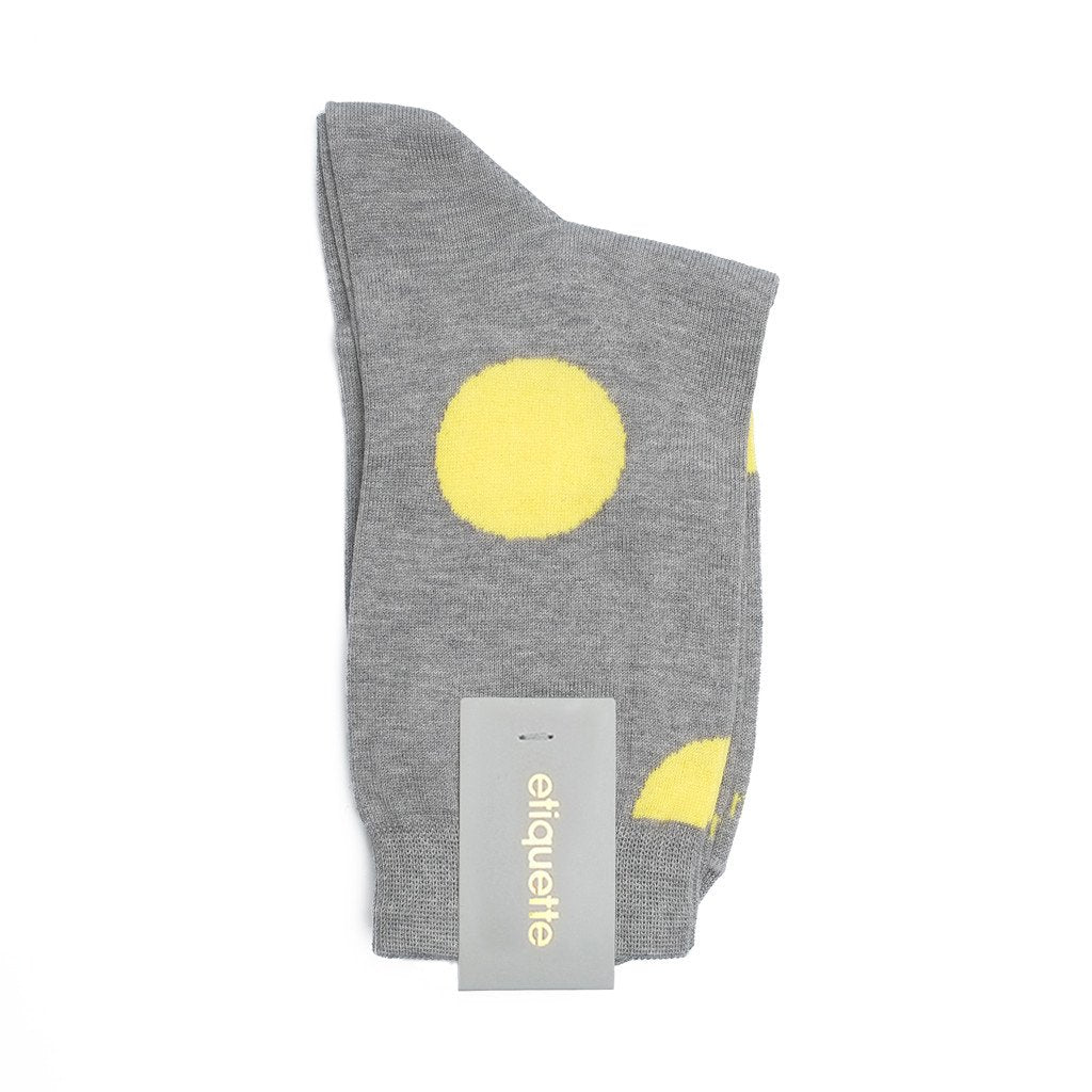Womens Socks - Big Dots Women's Socks - Grey⎪Etiquette Clothiers