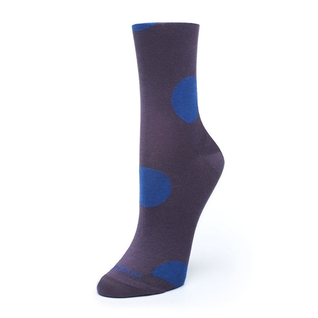 Womens Socks - Big Dots Women's Socks - Purple⎪Etiquette Clothiers