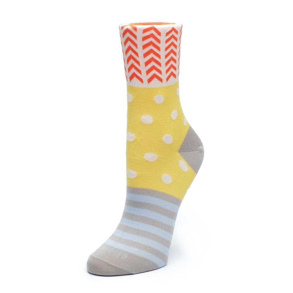 Womens Socks - Mixed Up Women's Socks - Yellow⎪Etiquette Clothiers