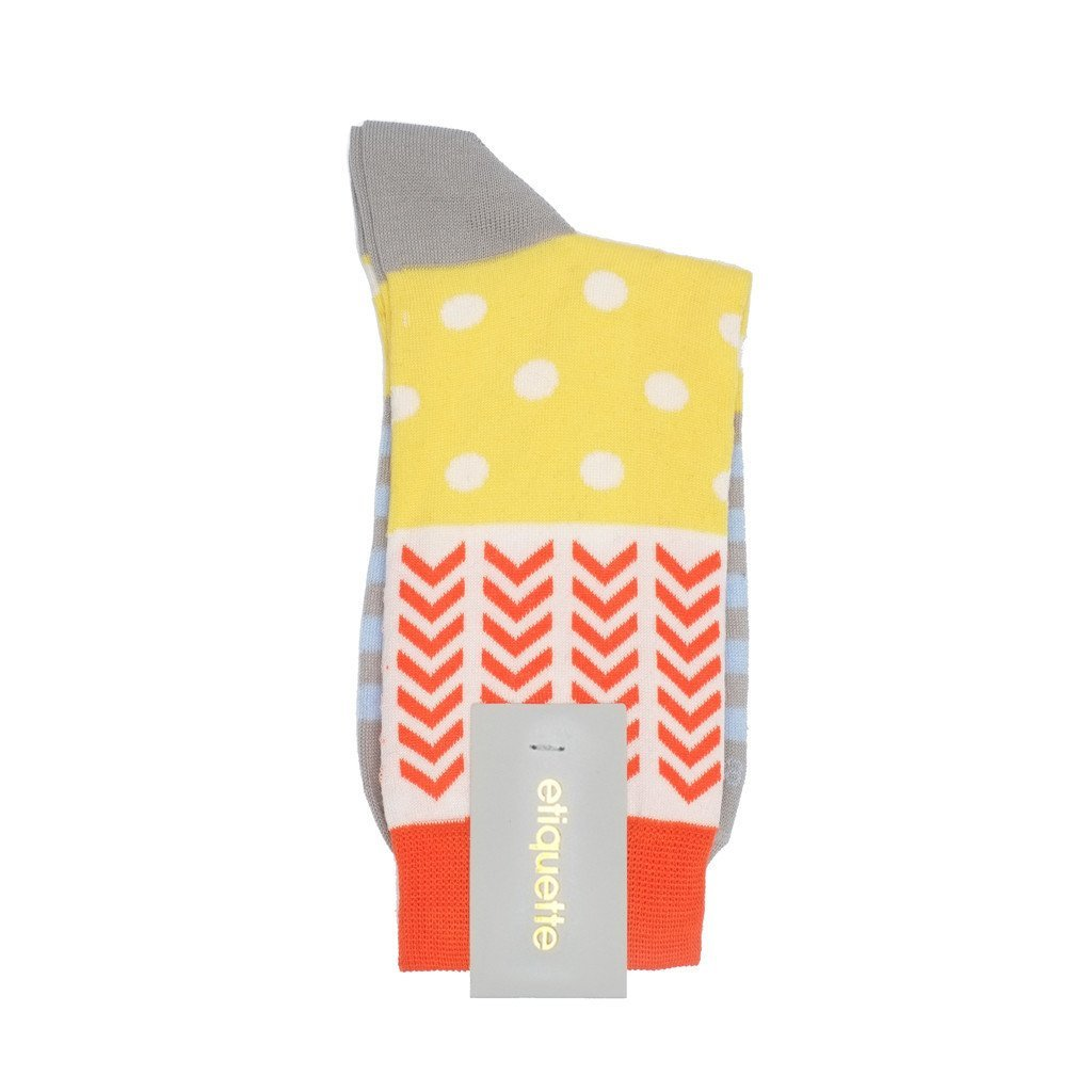 Womens Socks - Mixed Up - Yellow⎪Etiquette Clothiers