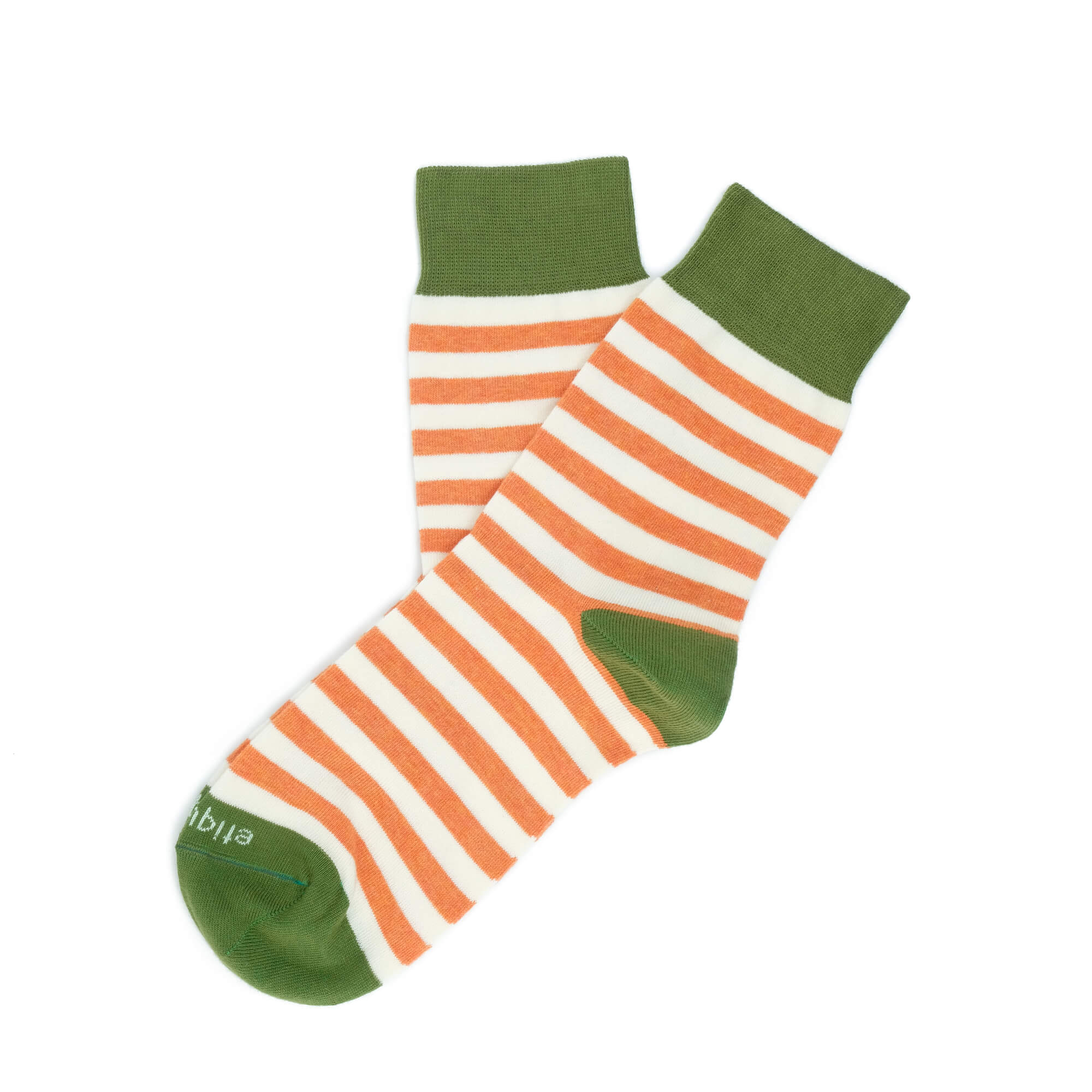 Womens Socks - Abbey Stripes Women's Socks - Orange/Green⎪Etiquette Clothiers