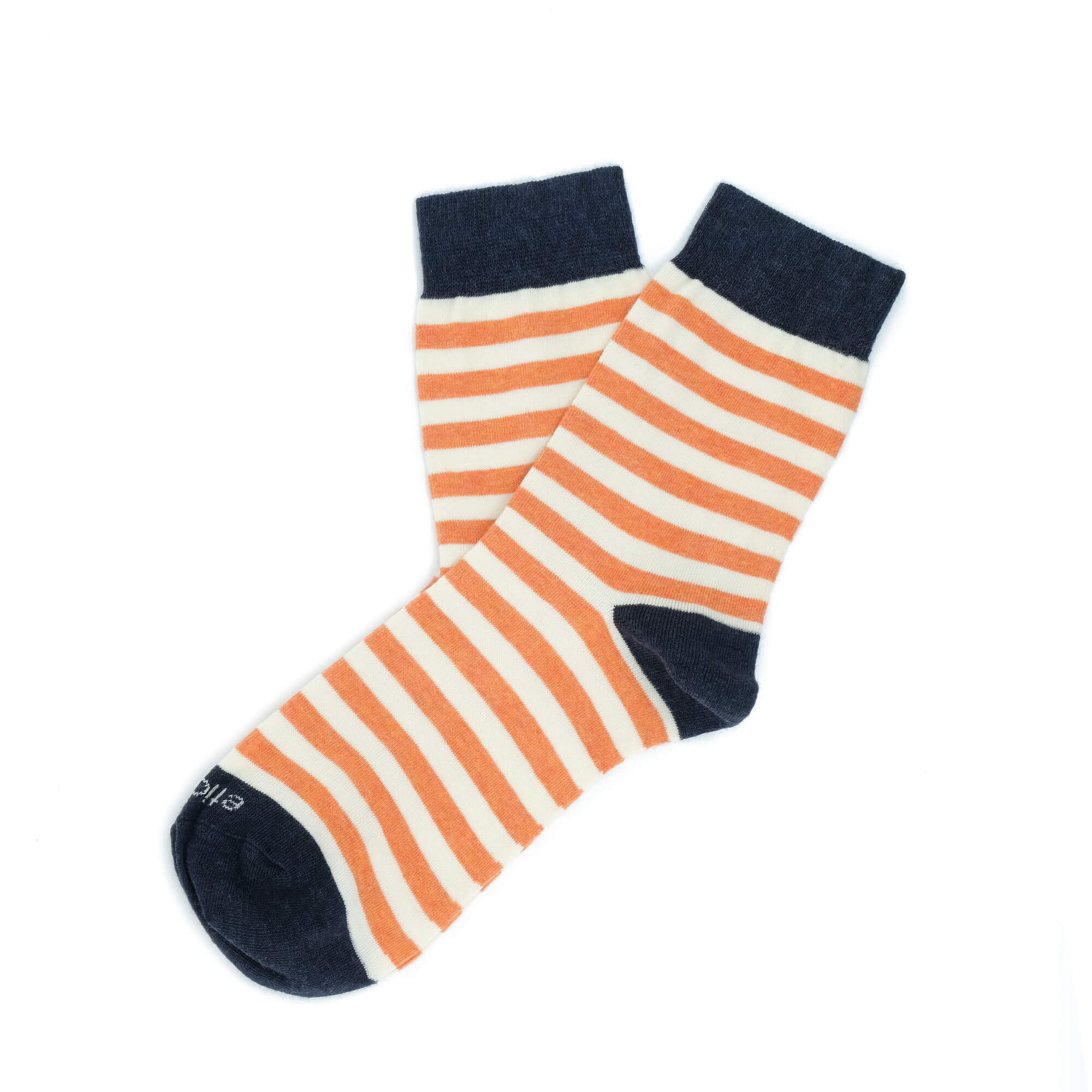 Womens Socks - Abbey Stripes Women's Socks - Orange/Navy⎪Etiquette Clothiers