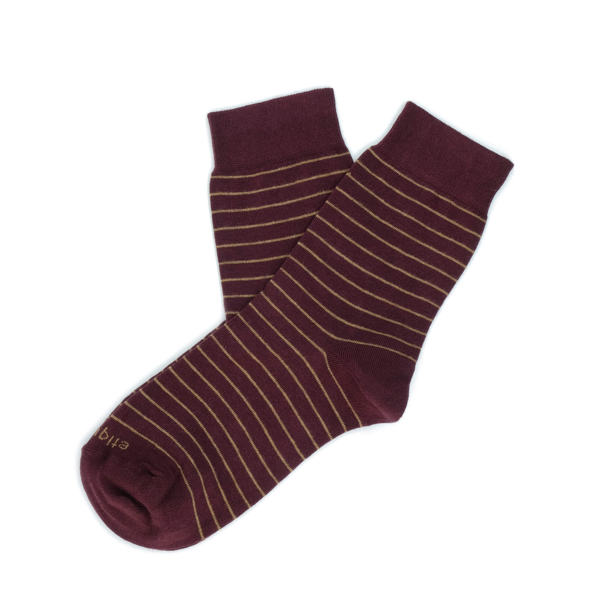 Womens Socks - Needle Stripes Women's Socks - Bordeaux⎪Etiquette Clothiers