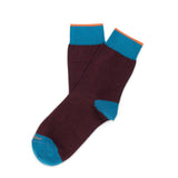 Womens Socks - Tri Pop Women's Socks - Bordeaux⎪Etiquette Clothiers