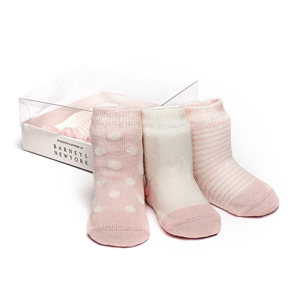 Baby Socks - Etiquette x Barneys Baby Girl Socks Gift Box - Heather Pink and Ecru⎪Etiquette Clothiers