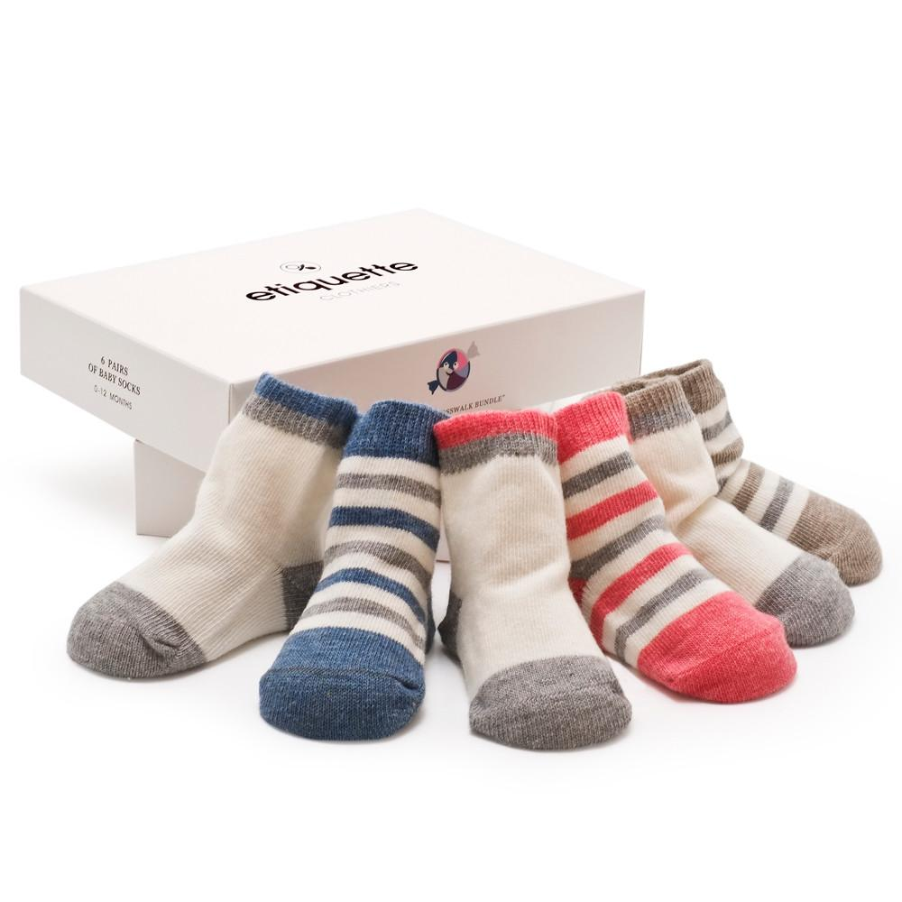 Baby Socks - Classic Crosswalk Baby Socks Gift Box - Multi Heather⎪Etiquette Clothiers