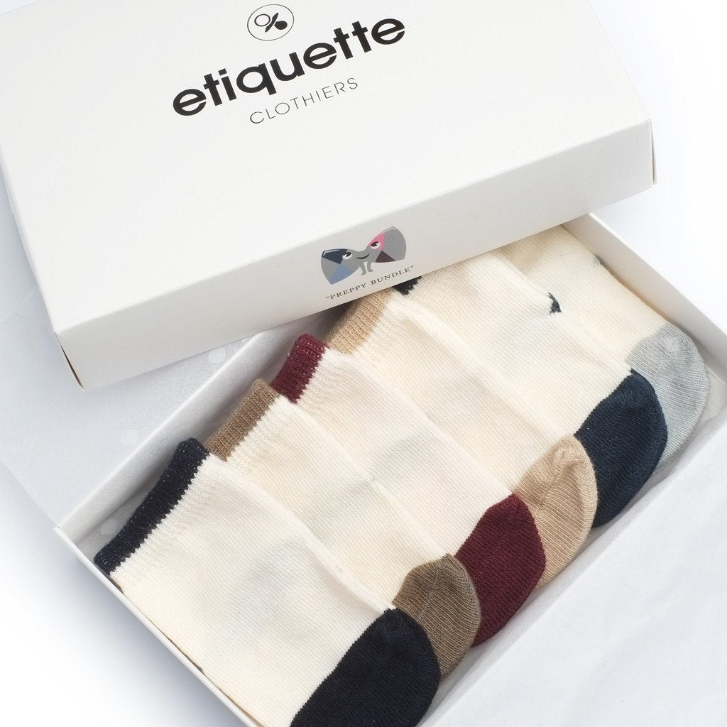 Baby Socks - Preppy Baby Socks Gift Box - Ecru Multi⎪Etiquette Clothiers
