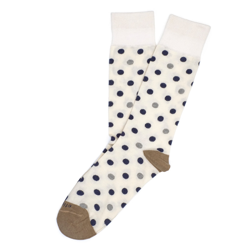 Mens Socks - Mix Polka Men's Socks - Ecru⎪Etiquette Clothiers