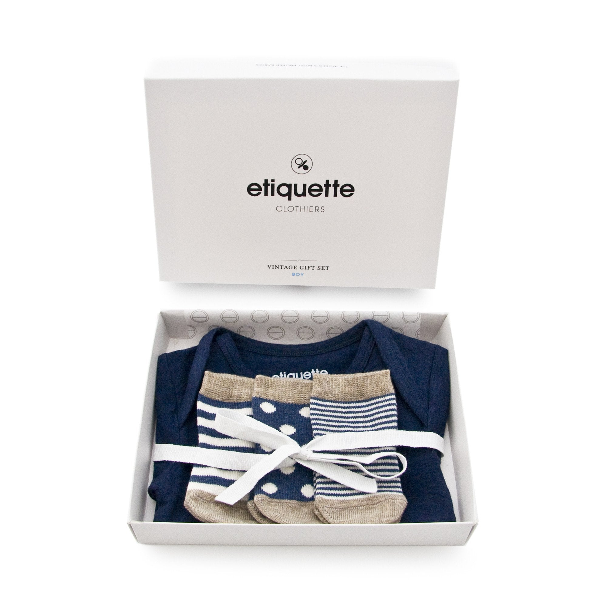 Baby Socks - Onesie & Socks 3 to 6 mo. - Dark Blue Heather⎪Etiquette Clothiers