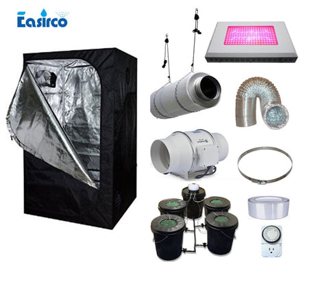 Hydropoinics Complete indoor grow tent kits 150X150X200cm  with DWC bucket,  LED grow light and ventilation equipment