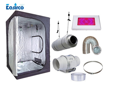 Complete indoor grow tent kits Size 120X120X200CM. with 120W LED grow light and ventilation equipment.