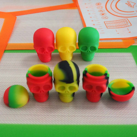 2pcs Skull shaped 15ml silicone concentrate containers