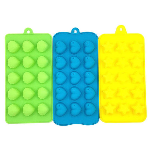 3pcs Elastic Silicone Ice Mold Candy Cake Mold Star Shell Love Ice Cube Tray Ice Mold Non-stick Home Kitchen Tools