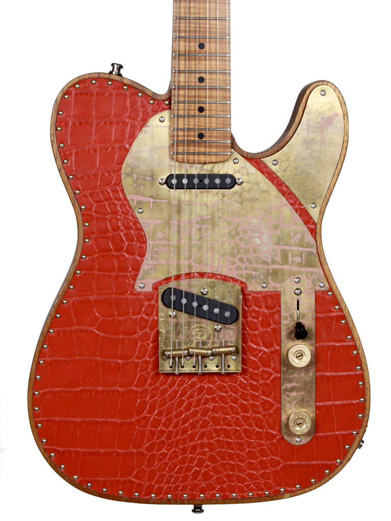 Paoletti Nancy Tele Red Leather Top Upgraded Neck - Paoletti - Heartbreaker Guitars