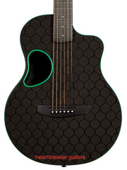 McPherson Touring Carbon Fiber Green Accents Honeycomb Finish - McPherson Guitars - Heartbreaker Guitars