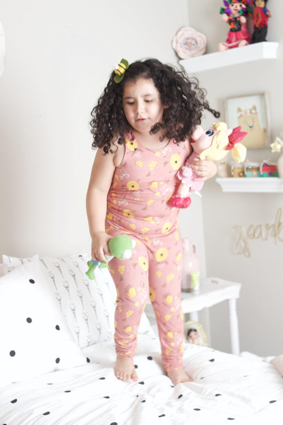 Salmon Bee Grow + Go Romper - Tinker Tyke Threads