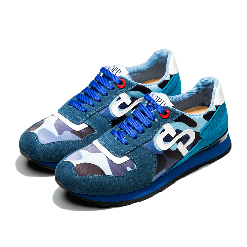LACE-UP PAINT SNEAKERS BLUE - Top Sneakers - OPP Official Store (OPP France)