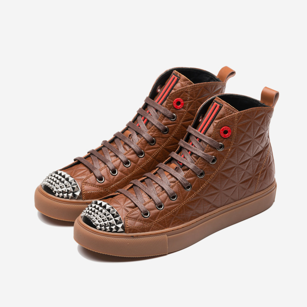 HIGH TOP LACE-UP SHOES BROWN