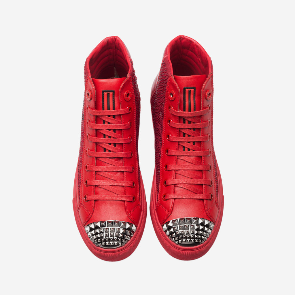 HIGH TOP LACE-UP SHOES RED