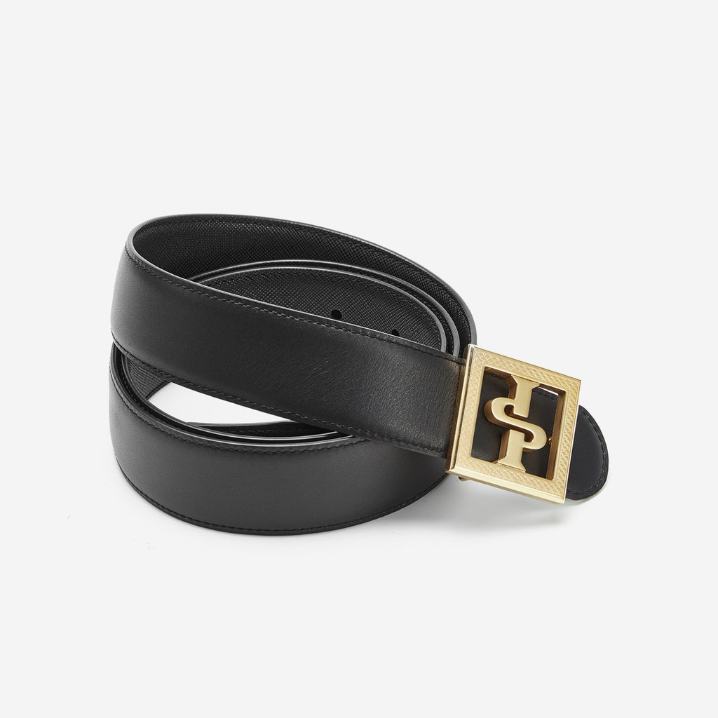 18K PLATED STRIPE INLAID MEN BELTS BLACK GOLD - Top Belts - OPP Official Store (OPP France)