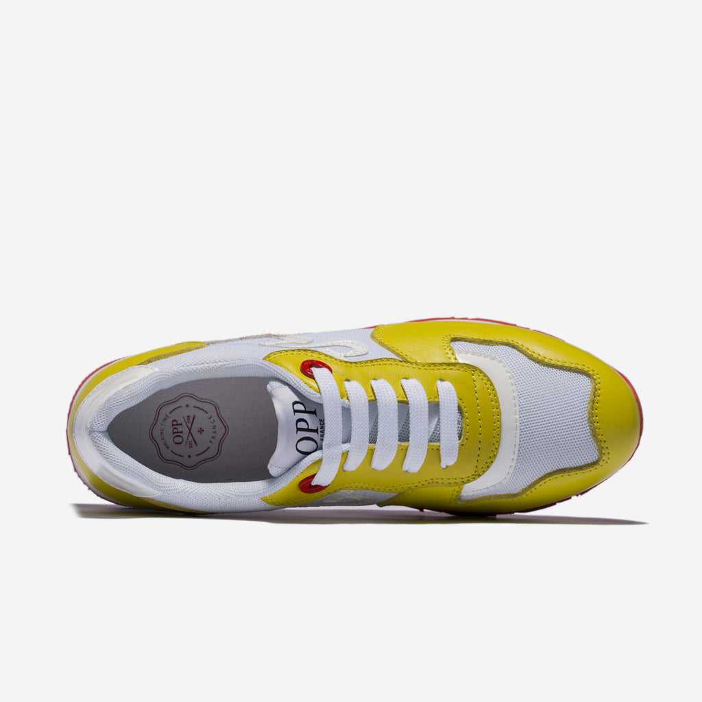 WOMEN LACE-UP SUEDE SNEAKERS YELLOW