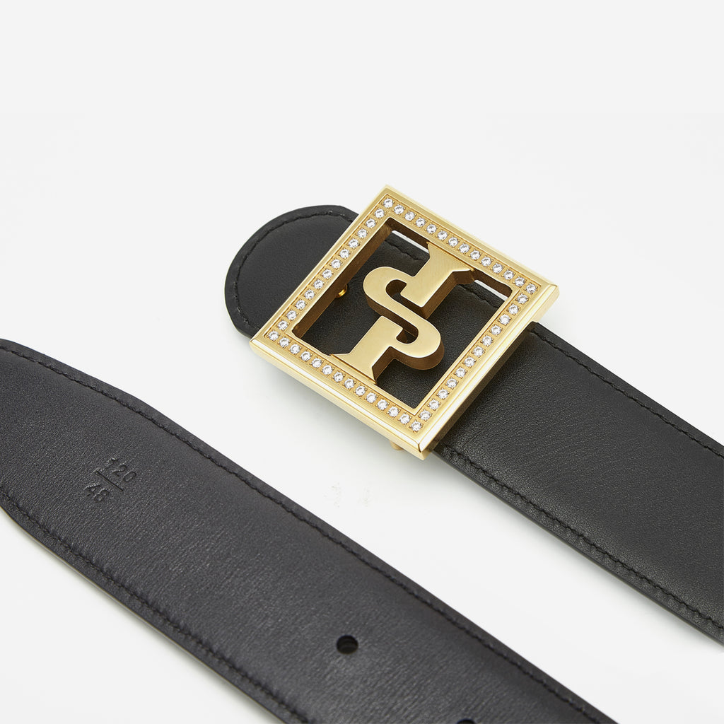18K PLATED DIAMOND INLAID MEN BELTS BLACK GOLD - Top Belts - OPP Official Store (OPP France)