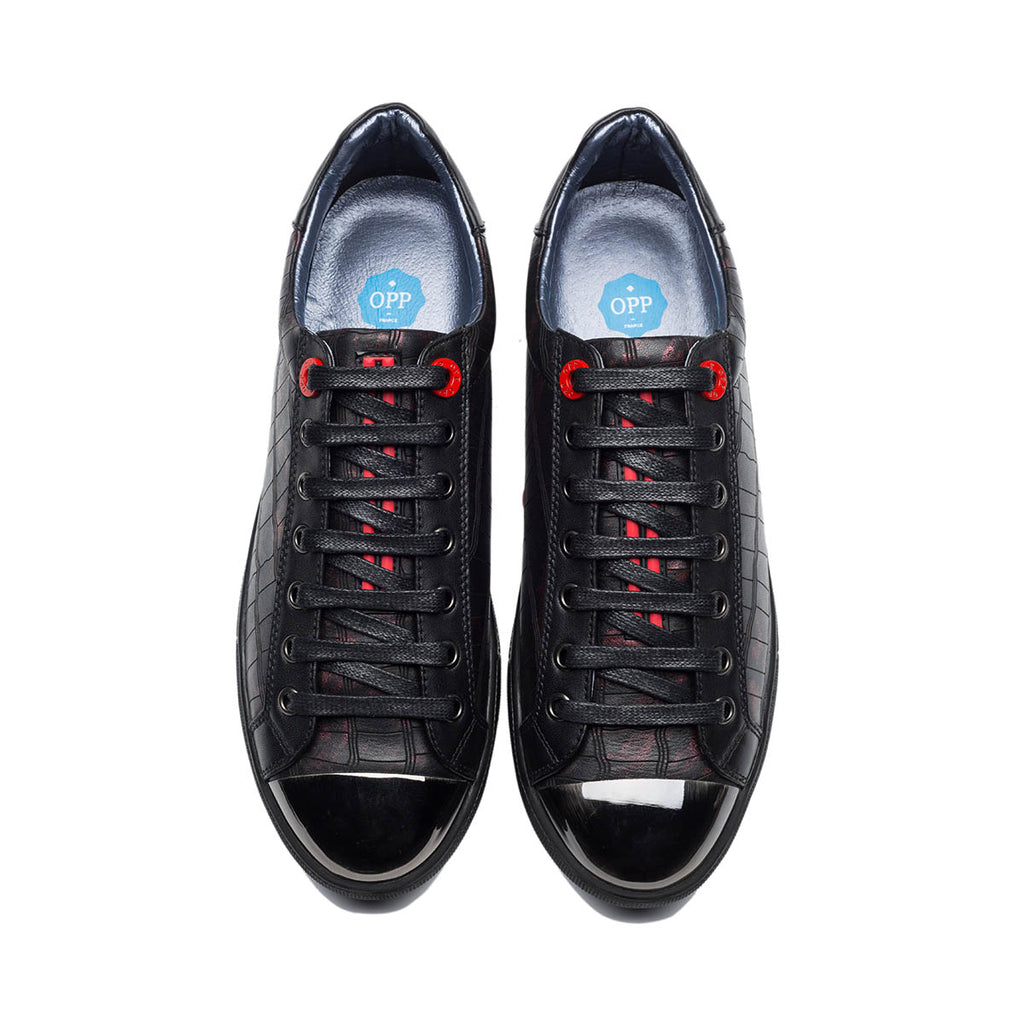 METAL LACE-UP SHOE BLACK RED - Top Casual Shoes - OPP Official Store (OPP France)