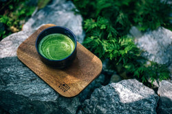 Matcha latte in nature