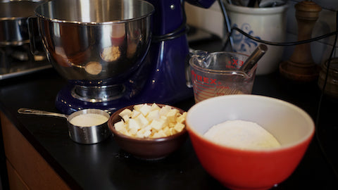 All Ingredients and Stand Mixer