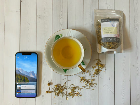 Citrus Beauty Lemongrass Chamomile loose leaf tea and Calm meditation app for restful sleep