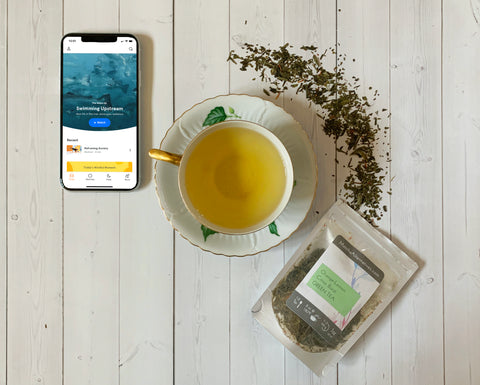 Citrus Burst loose leaf green tea and Headspace meditation app for mindful fitness