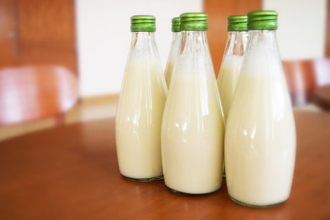 Different kinds of milk in bottles