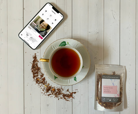 English Garden Earl Grey Rooibos loose leaf tea and Insight Timer meditation app for relaxation