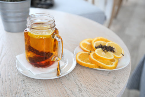 Rooibos tea with lemon for relaxation